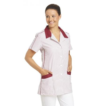 HOSENKASACK 559 VON LEIBER in WEISS-BORDEAUX - berufskleidung pflege medizin in ihrer Region Härtnagel, Allgäu;Härtnagel am Mariaberg - DAMENKASACK - DAMENKASACKS - KASACK - KASACKS - SCHLUPFKASACK