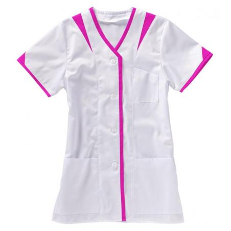 KASACK 225 VON BEB / FARBE: WEISS/PINK - berufskleidung pflege medizin in ihrer Region Härtnagel, Allgäu;Härtnagel am Mariaberg - DAMENKASACK - DAMENKASACKS - KASACK - KASACKS - SCHLUPFKASACK