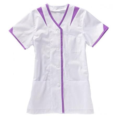 KASACK 225 VON BEB / FARBE: WEISS/VIOLETT - berufskleidung pflege medizin in ihrer Region Härtnagel, Allgäu;Härtnagel am Mariaberg - DAMENKASACK - DAMENKASACKS - KASACK - KASACKS - SCHLUPFKASACK