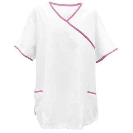 KASACK 281 in WEISS / PINK - berufskleidung pflege medizin in ihrer Region Härtnagel, Allgäu;Härtnagel am Mariaberg - DAMENKASACK - DAMENKASACKS - KASACK - KASACKS - SCHLUPFKASACK