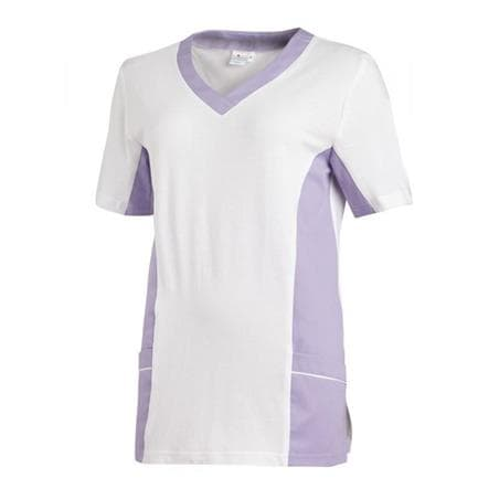 SCHLUPFJACKE 2531 VON LEIBER / FARBE: WEISS-FLIEDER - berufskleidung pflege medizin in ihrer Region Härtnagel, Allgäu;Härtnagel am Mariaberg - DAMENKASACK - DAMENKASACKS - KASACK - KASACKS - SCHLUPFKASACK