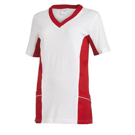 SCHLUPFJACKE 2531 VON LEIBER / FARBE: WEISS-ROT - berufskleidung pflege medizin in ihrer Region Härtnagel, Allgäu;Härtnagel am Mariaberg - DAMENKASACK - DAMENKASACKS - KASACK - KASACKS - SCHLUPFKASACK