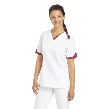 SCHLUPFJACKE 2539 VON LEIBER / FARBE: WEISS-BEERE - berufskleidung pflege medizin in ihrer Region Härtnagel, Allgäu;Härtnagel am Mariaberg - DAMENKASACK - DAMENKASACKS - KASACK - KASACKS - SCHLUPFKASACK